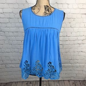 [Everly] Periwinkle Blouse w/ Trim Detail